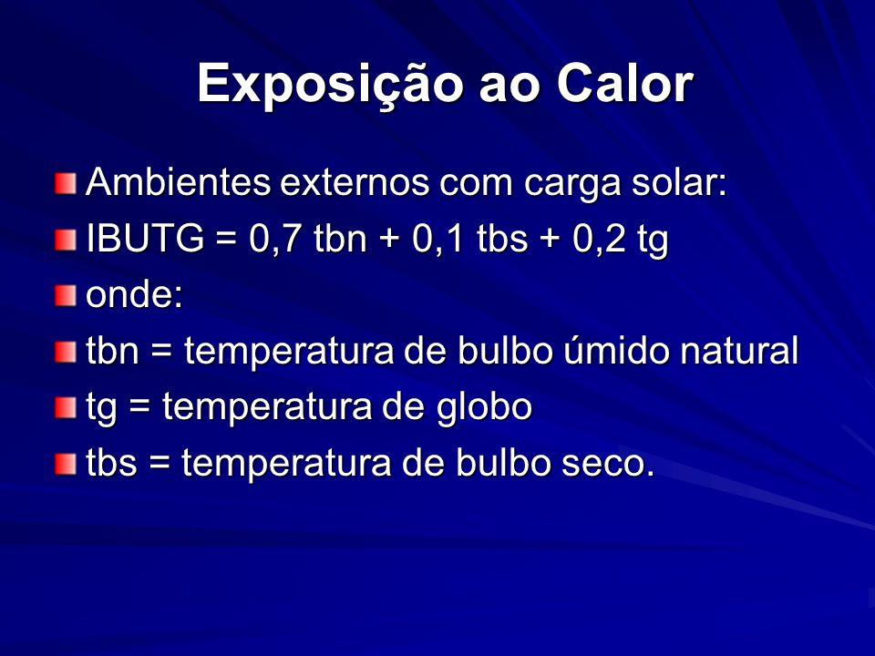 Exposição ao Calor Exposição ao Calor Ambientes externos com carga solar: IBUTG = 0,7 tbn + 0,1 tbs + 0,2 tg onde: tbn = temperatura de bulbo úmido natural tg = temperatura de globo tbs = temperatura de bulbo seco.
