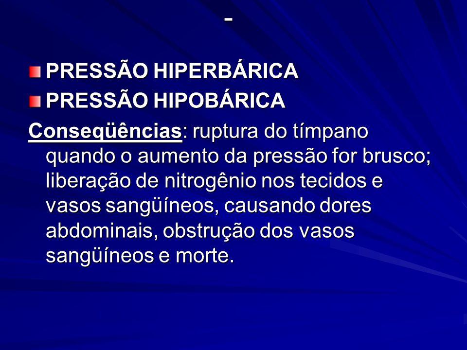 - PRESSÃO HIPERBÁRICA PRESSÃO HIPOBÁRICA Conseqüências: ruptura do tímpano quando o aumento da pressão for brusco; liberação de nitrogênio nos tecidos e vasos sangüíneos, causando dores abdominais, obstrução dos vasos sangüíneos e morte.