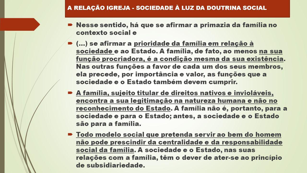  Nesse sentido, há que se afirmar a primazia da família no contexto social e  (...) se afirmar a prioridade da família em relação à sociedade e ao Estado.