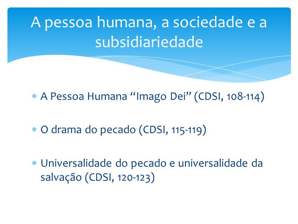 """ A Pessoa Humana """"Imago Dei"""" (CDSI, 108-114)  O drama do pecado (CDSI, 115-119)  Universalidade do pecado e universalidade da salvação (CDSI, 120-1"""
