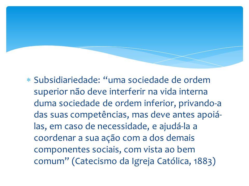 """ Subsidiariedade: """"uma sociedade de ordem superior não deve interferir na vida interna duma sociedade de ordem inferior, privando-a das suas competên"""