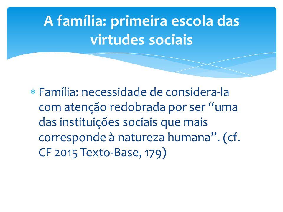 """ Família: necessidade de considera-la com atenção redobrada por ser """"uma das instituições sociais que mais corresponde à natureza humana"""". (cf. CF 20"""