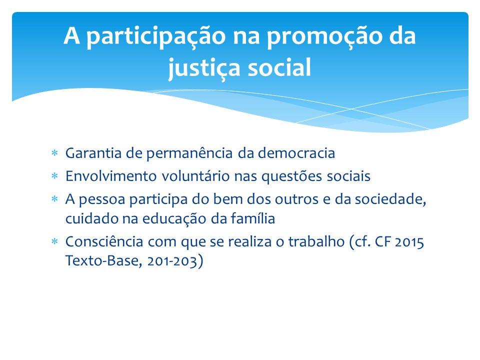  Garantia de permanência da democracia  Envolvimento voluntário nas questões sociais  A pessoa participa do bem dos outros e da sociedade, cuidado