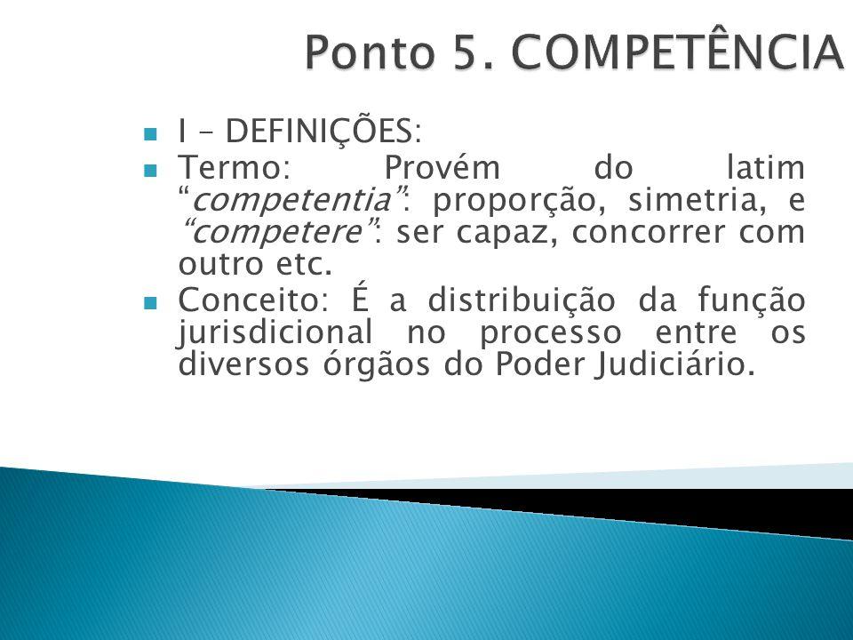 I – DEFINIÇÕES: Termo: Provém do latim competentia : proporção, simetria, e competere : ser capaz, concorrer com outro etc.