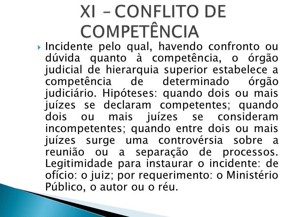  Incidente pelo qual, havendo confronto ou dúvida quanto à competência, o órgão judicial de hierarquia superior estabelece a competência de determinado órgão judiciário.