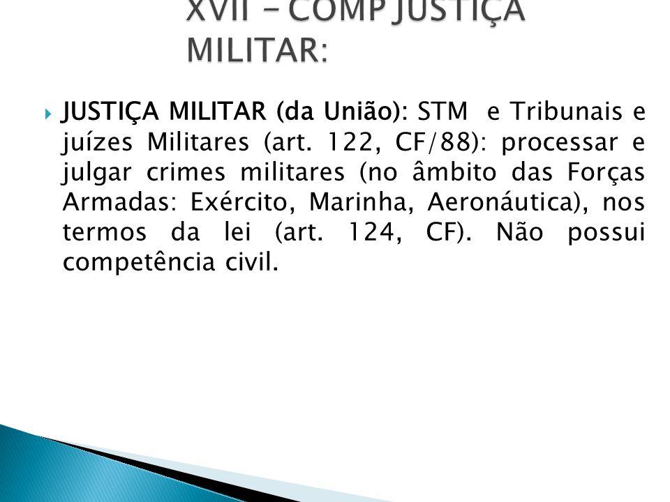  JUSTIÇA MILITAR (da União): STM e Tribunais e juízes Militares (art.