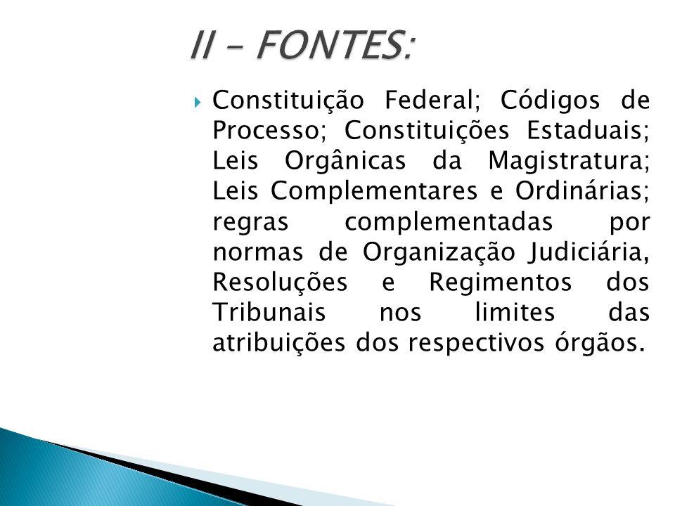  Constituição Federal; Códigos de Processo; Constituições Estaduais; Leis Orgânicas da Magistratura; Leis Complementares e Ordinárias; regras complementadas por normas de Organização Judiciária, Resoluções e Regimentos dos Tribunais nos limites das atribuições dos respectivos órgãos.