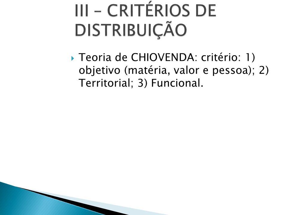  Teoria de CHIOVENDA: critério: 1) objetivo (matéria, valor e pessoa); 2) Territorial; 3) Funcional.