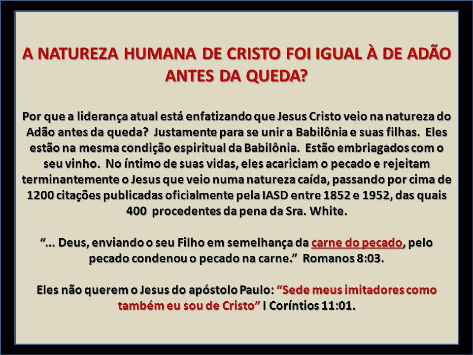 A NATUREZA HUMANA DE CRISTO FOI IGUAL À DE ADÃO ANTES DA QUEDA? Por que a liderança atual está enfatizando que Jesus Cristo veio na natureza do Adão a