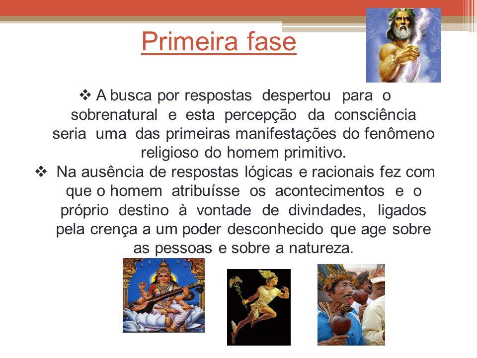 Primeira fase  A busca por respostas despertou para o sobrenatural e esta percepção da consciência seria uma das primeiras manifestações do fenômeno religioso do homem primitivo.