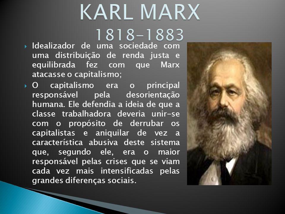  Idealizador de uma sociedade com uma distribuição de renda justa e equilibrada fez com que Marx atacasse o capitalismo;  O capitalismo era o principal responsável pela desorientação humana.