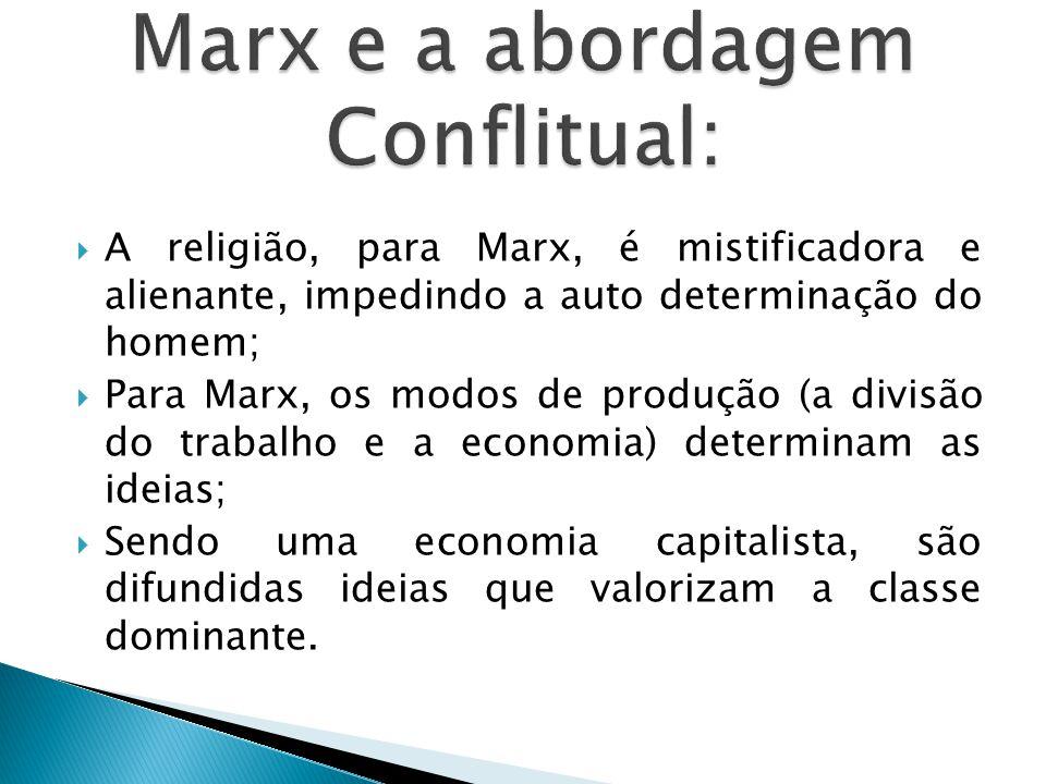  A religião, para Marx, é mistificadora e alienante, impedindo a auto determinação do homem;  Para Marx, os modos de produção (a divisão do trabalho e a economia) determinam as ideias;  Sendo uma economia capitalista, são difundidas ideias que valorizam a classe dominante.