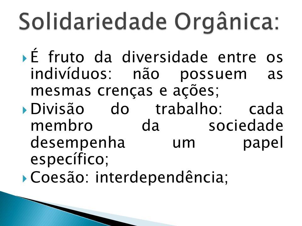  É fruto da diversidade entre os indivíduos: não possuem as mesmas crenças e ações;  Divisão do trabalho: cada membro da sociedade desempenha um papel específico;  Coesão: interdependência;