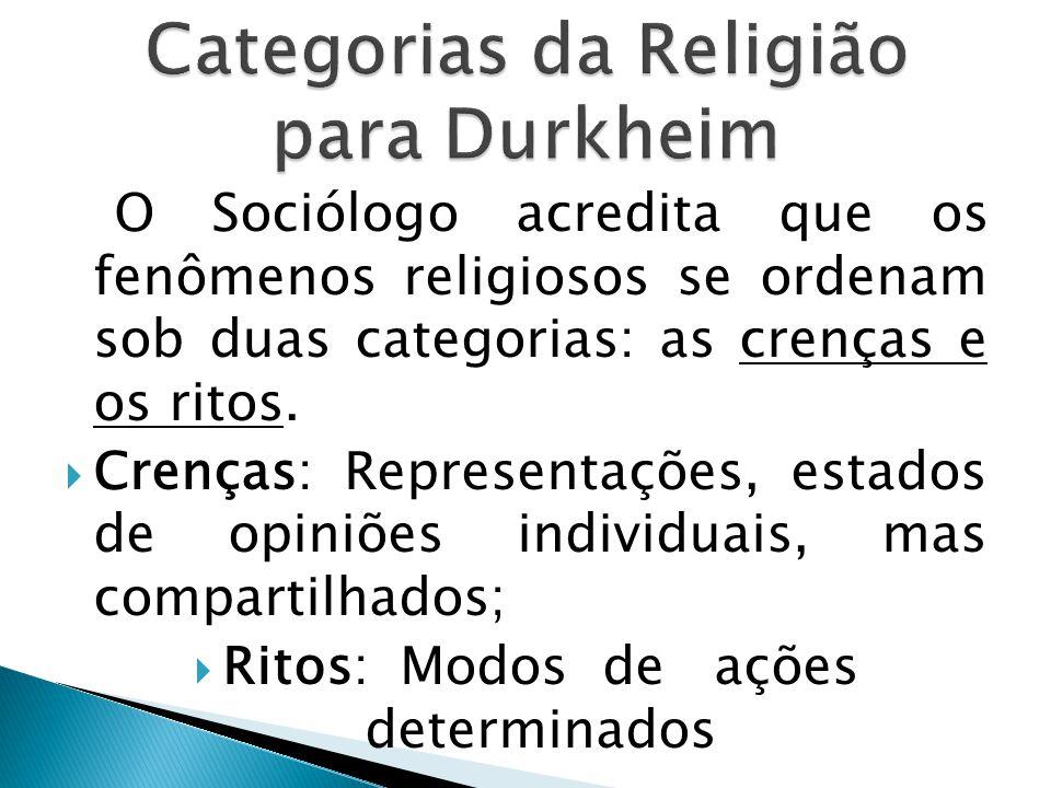 O Sociólogo acredita que os fenômenos religiosos se ordenam sob duas categorias: as crenças e os ritos.
