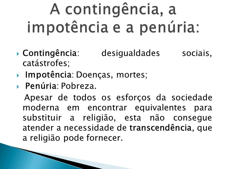  Contingência: desigualdades sociais, catástrofes;  Impotência: Doenças, mortes;  Penúria: Pobreza.