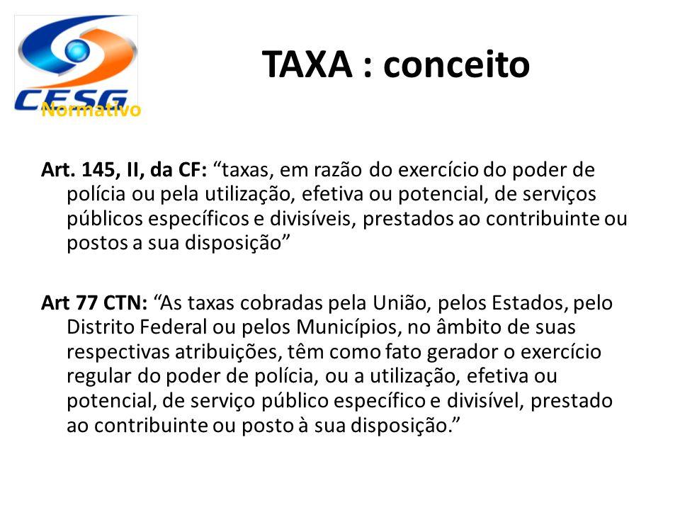 """TAXA : conceito Normativo Art. 145, II, da CF: """"taxas, em razão do exercício do poder de polícia ou pela utilização, efetiva ou potencial, de serviços"""