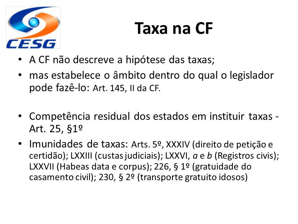 Taxa na CF A CF não descreve a hipótese das taxas; mas estabelece o âmbito dentro do qual o legislador pode fazê-lo: Art. 145, II da CF. Competência r