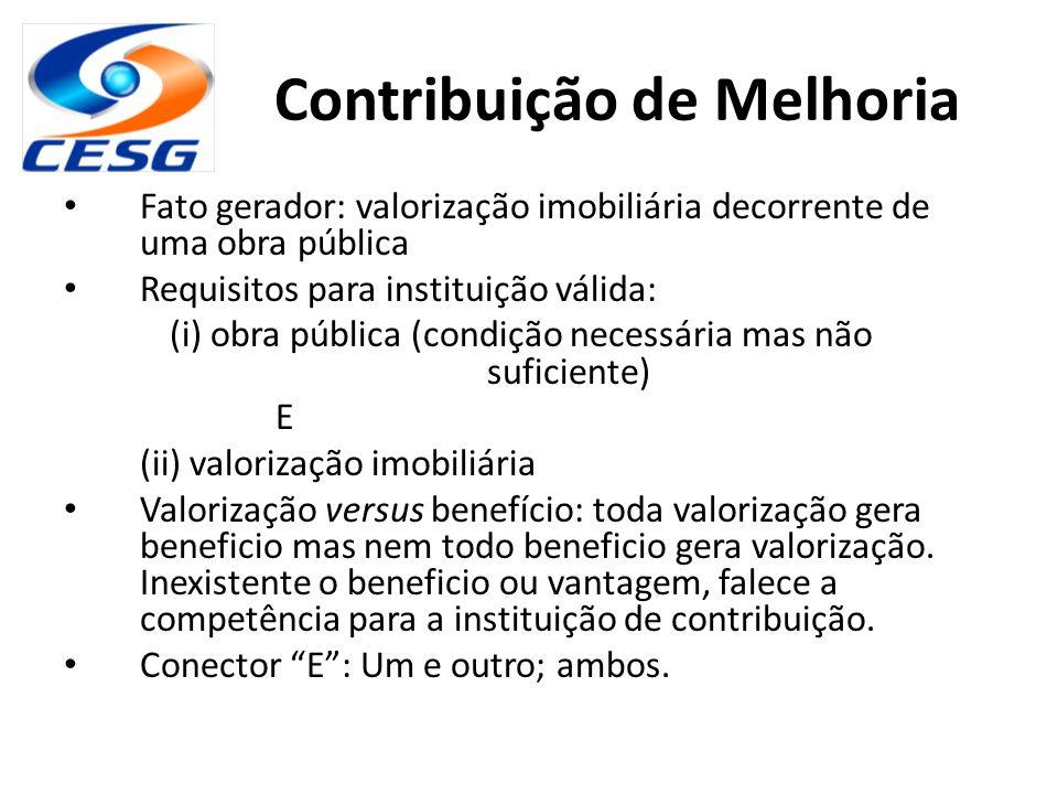 Contribuição de Melhoria Fato gerador: valorização imobiliária decorrente de uma obra pública Requisitos para instituição válida: (i) obra pública (co