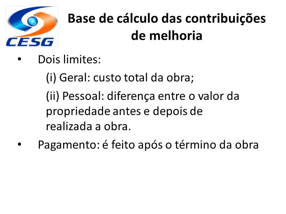 Base de cálculo das contribuições de melhoria Dois limites: (i) Geral: custo total da obra; (ii) Pessoal: diferença entre o valor da propriedade antes