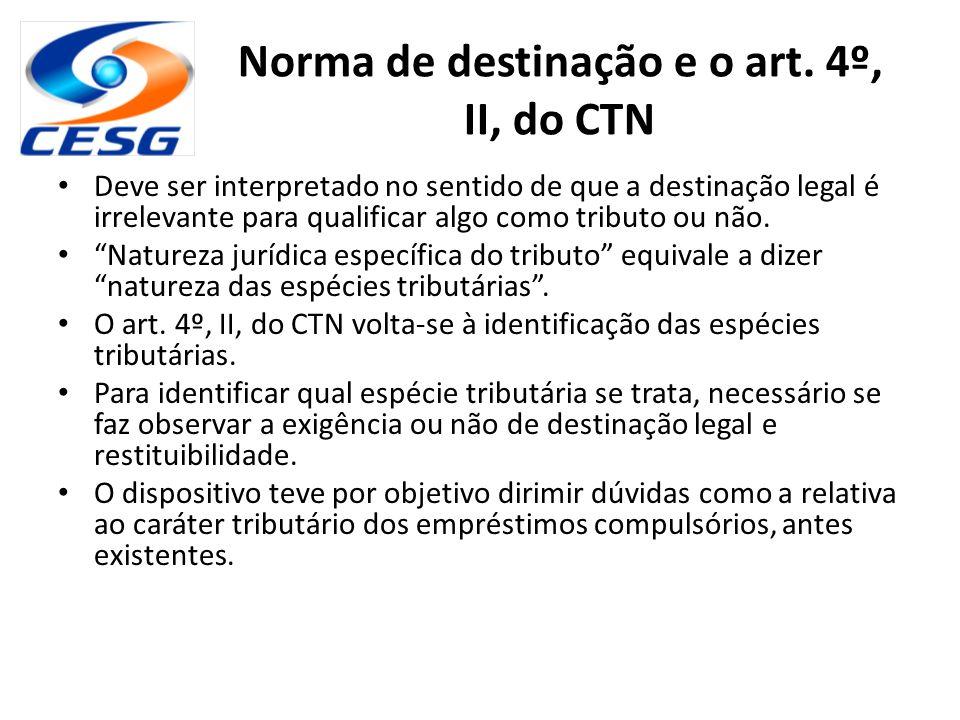 Norma de destinação e o art. 4º, II, do CTN Deve ser interpretado no sentido de que a destinação legal é irrelevante para qualificar algo como tributo