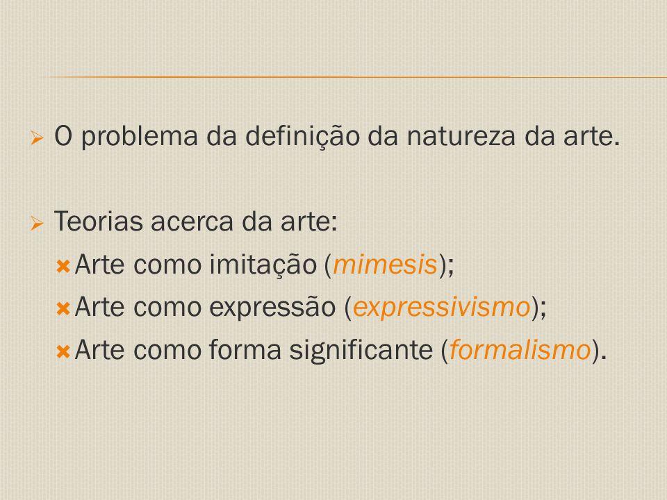  O problema da definição da natureza da arte.
