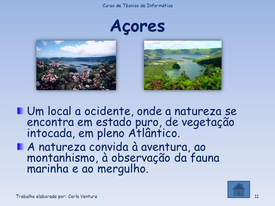 Açores Um local a ocidente, onde a natureza se encontra em estado puro, de vegetação intocada, em pleno Atlântico. A natureza convida à aventura, ao m