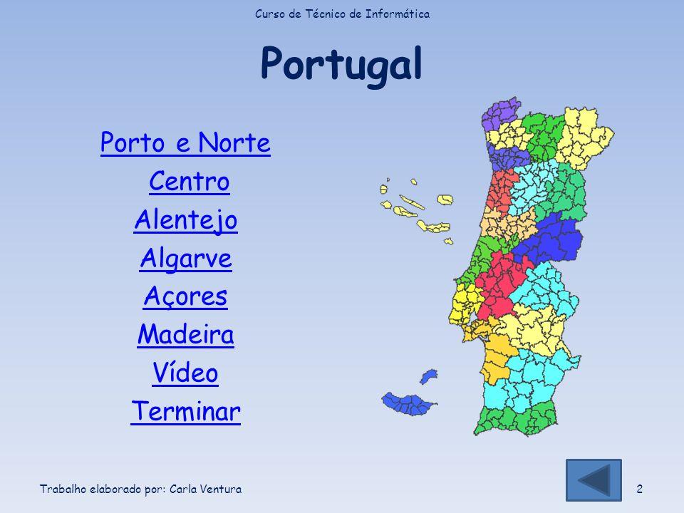 Portugal Porto e Norte Centro Alentejo Algarve Açores Madeira Vídeo Terminar Curso de Técnico de Informática Trabalho elaborado por: Carla Ventura2