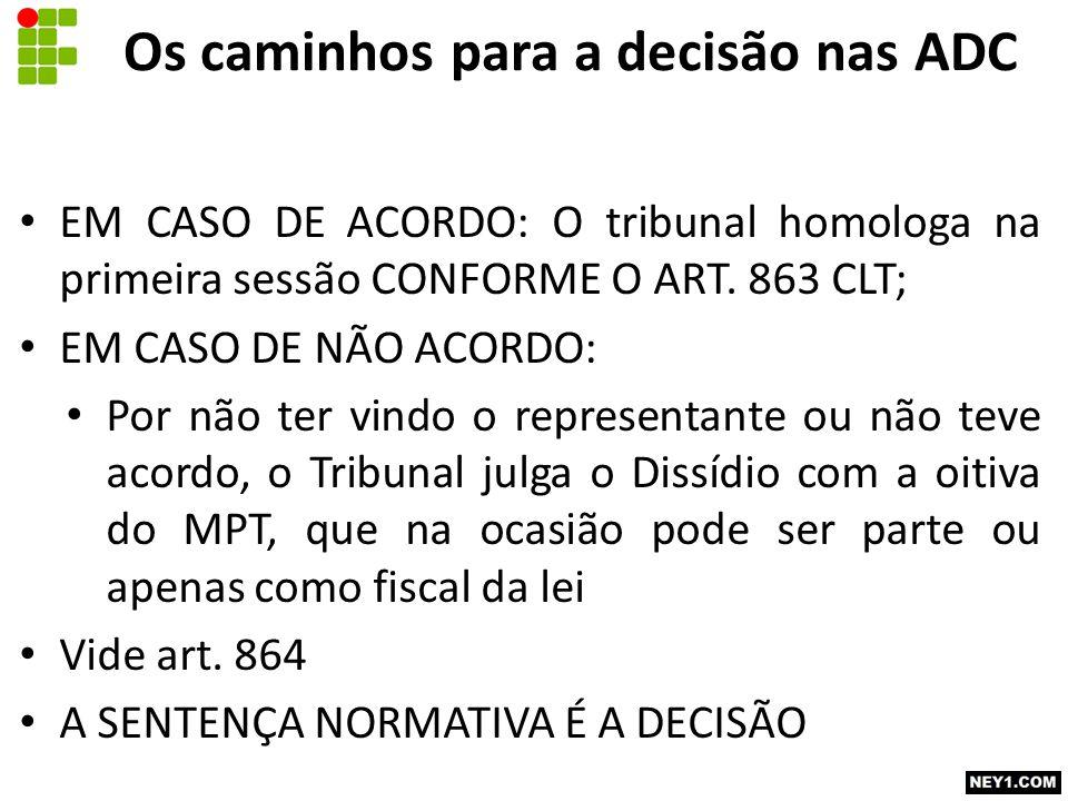 Os caminhos para a decisão nas ADC EM CASO DE ACORDO: O tribunal homologa na primeira sessão CONFORME O ART. 863 CLT; EM CASO DE NÃO ACORDO: Por não t