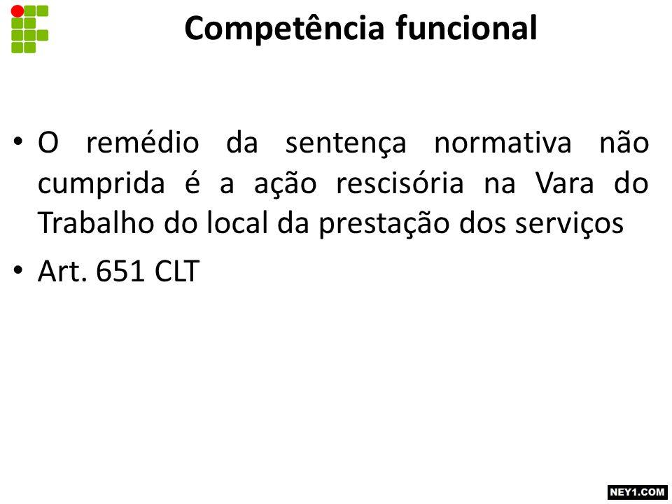 Competência funcional O remédio da sentença normativa não cumprida é a ação rescisória na Vara do Trabalho do local da prestação dos serviços Art. 651