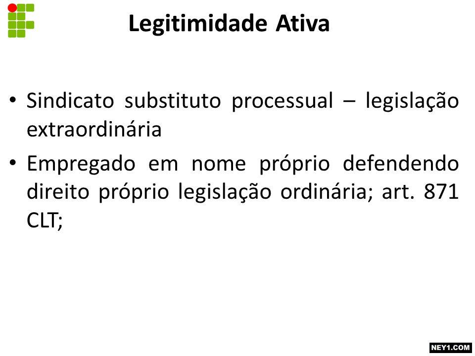 Legitimidade Ativa Sindicato substituto processual – legislação extraordinária Empregado em nome próprio defendendo direito próprio legislação ordinária; art.
