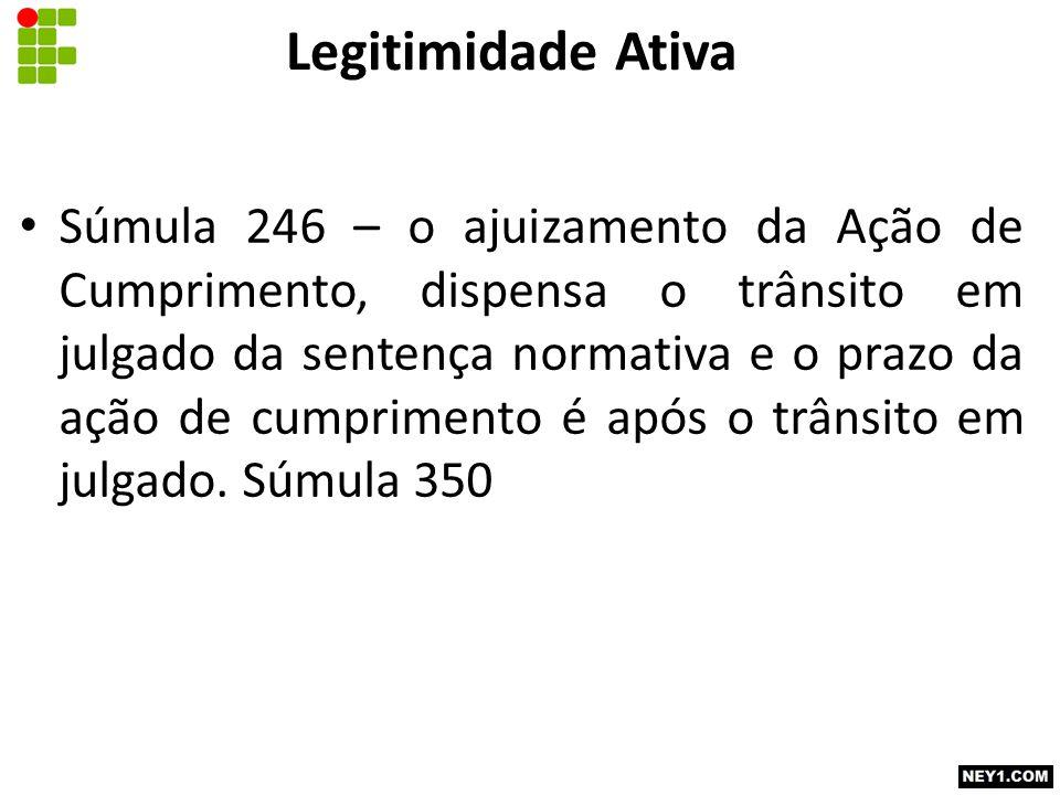 Súmula 246 – o ajuizamento da Ação de Cumprimento, dispensa o trânsito em julgado da sentença normativa e o prazo da ação de cumprimento é após o trân