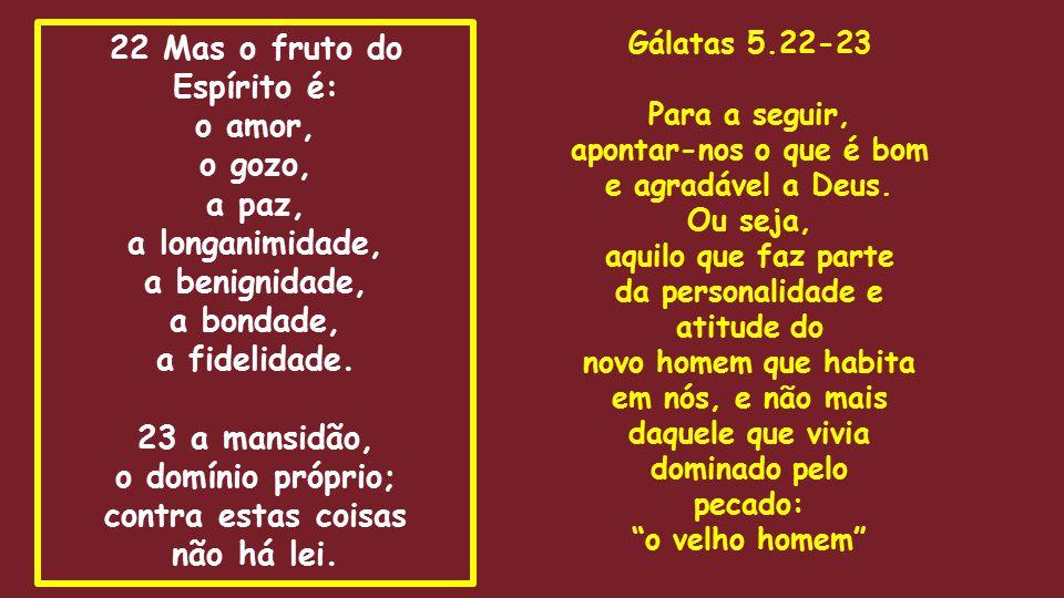 22 Mas o fruto do Espírito é: o amor, o gozo, a paz, a longanimidade, a benignidade, a bondade, a fidelidade. 23 a mansidão, o domínio próprio; contra