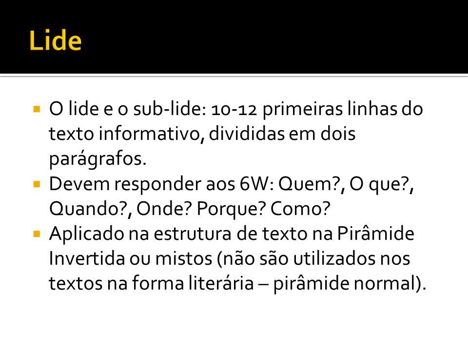  O lide e o sub-lide: 10-12 primeiras linhas do texto informativo, divididas em dois parágrafos.  Devem responder aos 6W: Quem?, O que?, Quando?, On