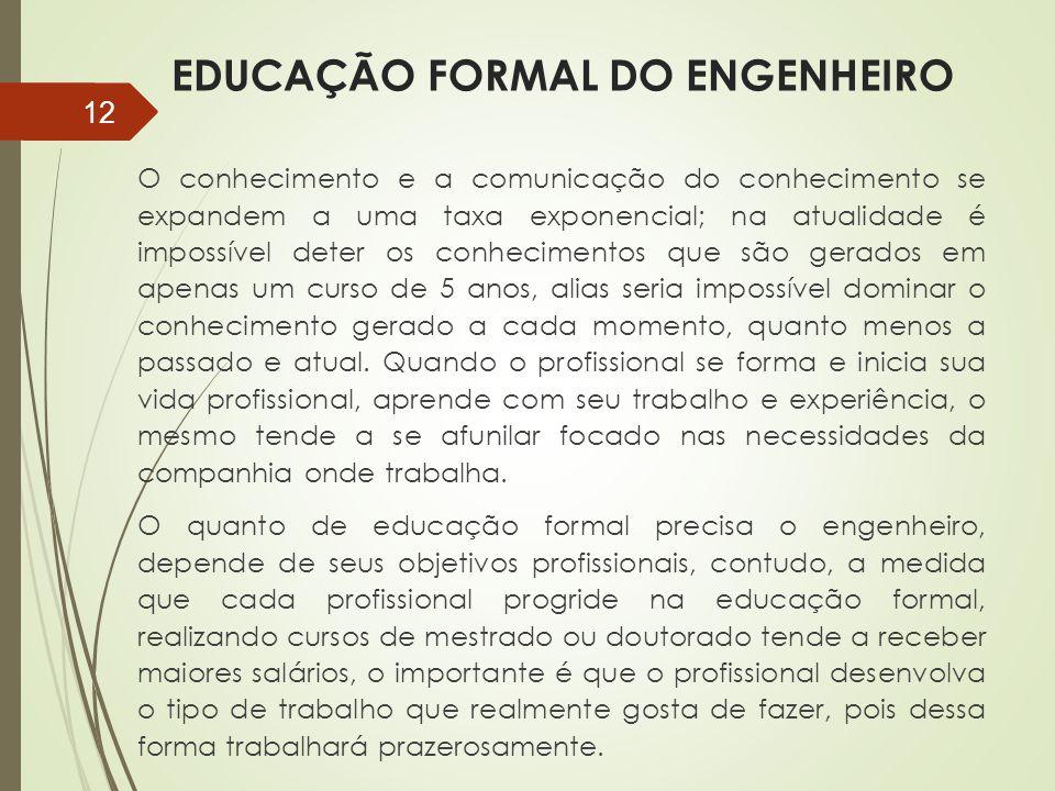 EDUCAÇÃO FORMAL DO ENGENHEIRO O conhecimento e a comunicação do conhecimento se expandem a uma taxa exponencial; na atualidade é impossível deter os c