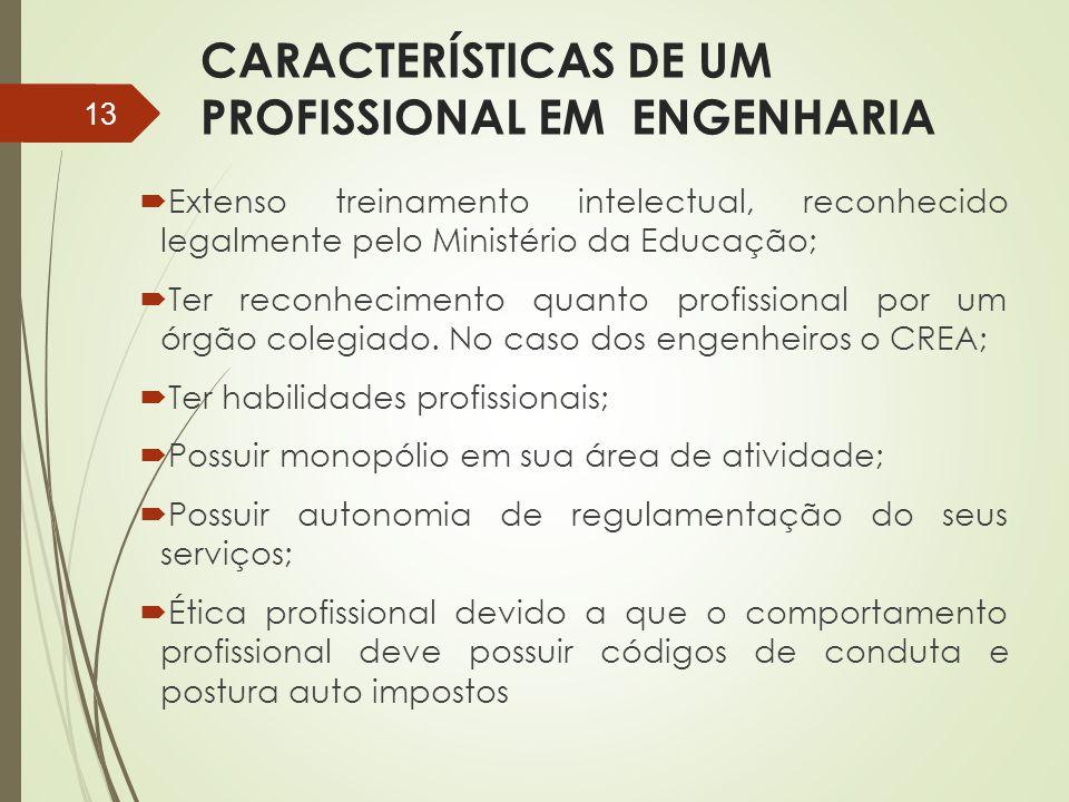 CARACTERÍSTICAS DE UM PROFISSIONAL EM ENGENHARIA  Extenso treinamento intelectual, reconhecido legalmente pelo Ministério da Educação;  Ter reconhec