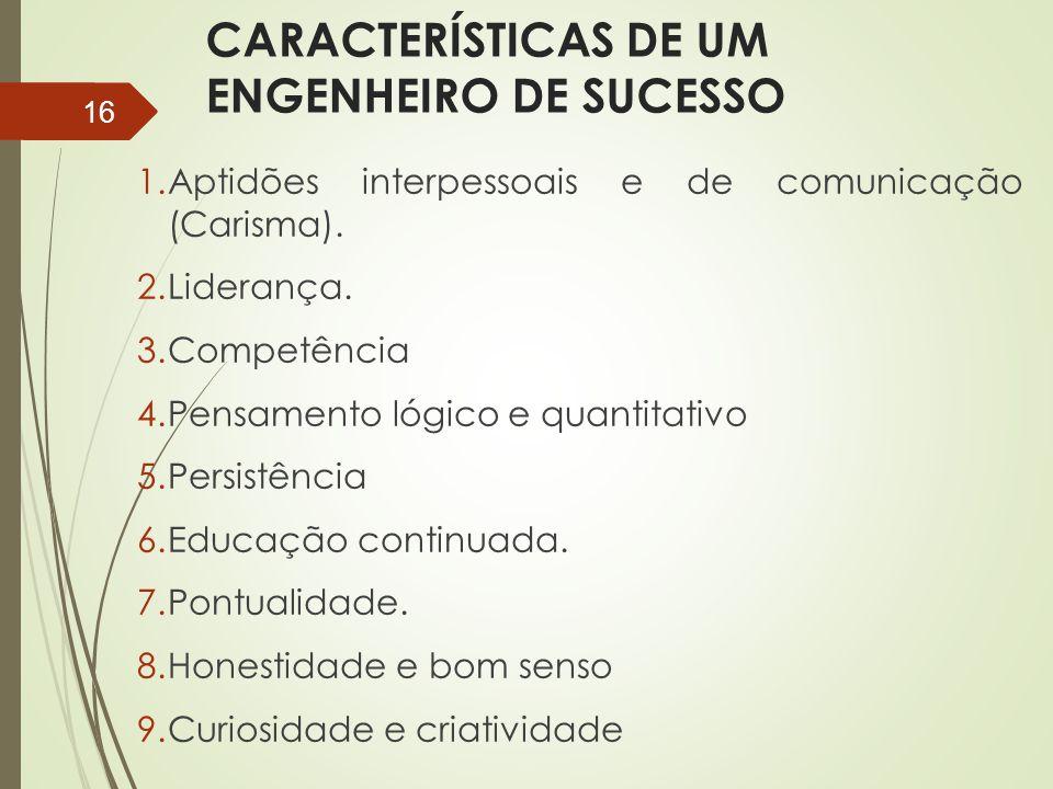 CARACTERÍSTICAS DE UM ENGENHEIRO DE SUCESSO 1.Aptidões interpessoais e de comunicação (Carisma). 2.Liderança. 3.Competência 4.Pensamento lógico e quan