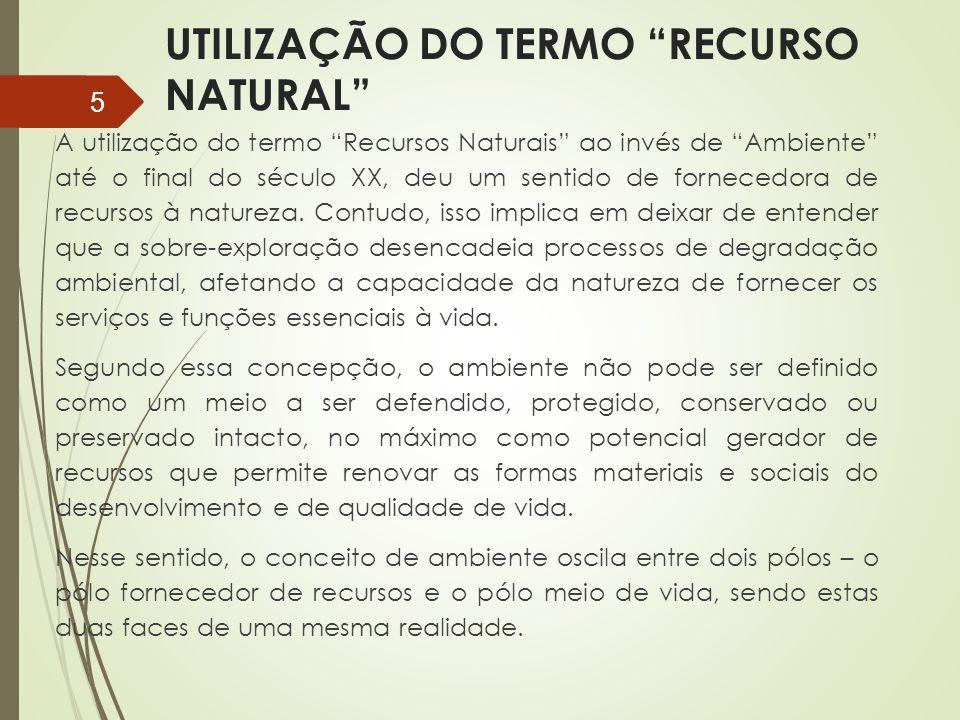 """UTILIZAÇÃO DO TERMO """"RECURSO NATURAL"""" A utilização do termo """"Recursos Naturais"""" ao invés de """"Ambiente"""" até o final do século XX, deu um sentido de for"""