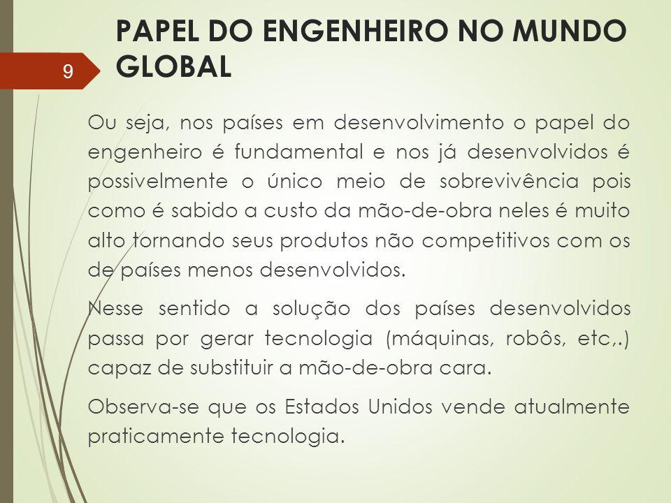 PAPEL DO ENGENHEIRO NO MUNDO GLOBAL Ou seja, nos países em desenvolvimento o papel do engenheiro é fundamental e nos já desenvolvidos é possivelmente
