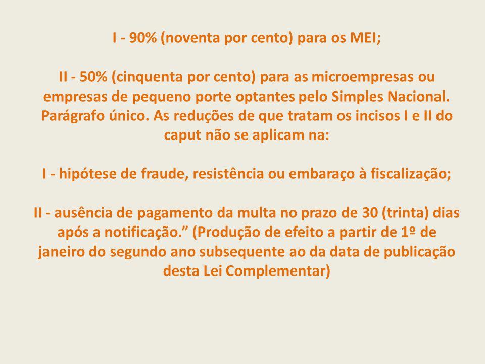 I - 90% (noventa por cento) para os MEI; II - 50% (cinquenta por cento) para as microempresas ou empresas de pequeno porte optantes pelo Simples Nacional.