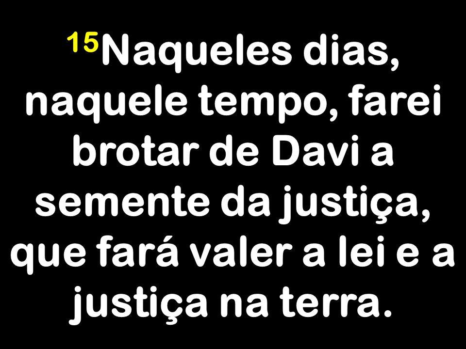 15 Naqueles dias, naquele tempo, farei brotar de Davi a semente da justiça, que fará valer a lei e a justiça na terra.