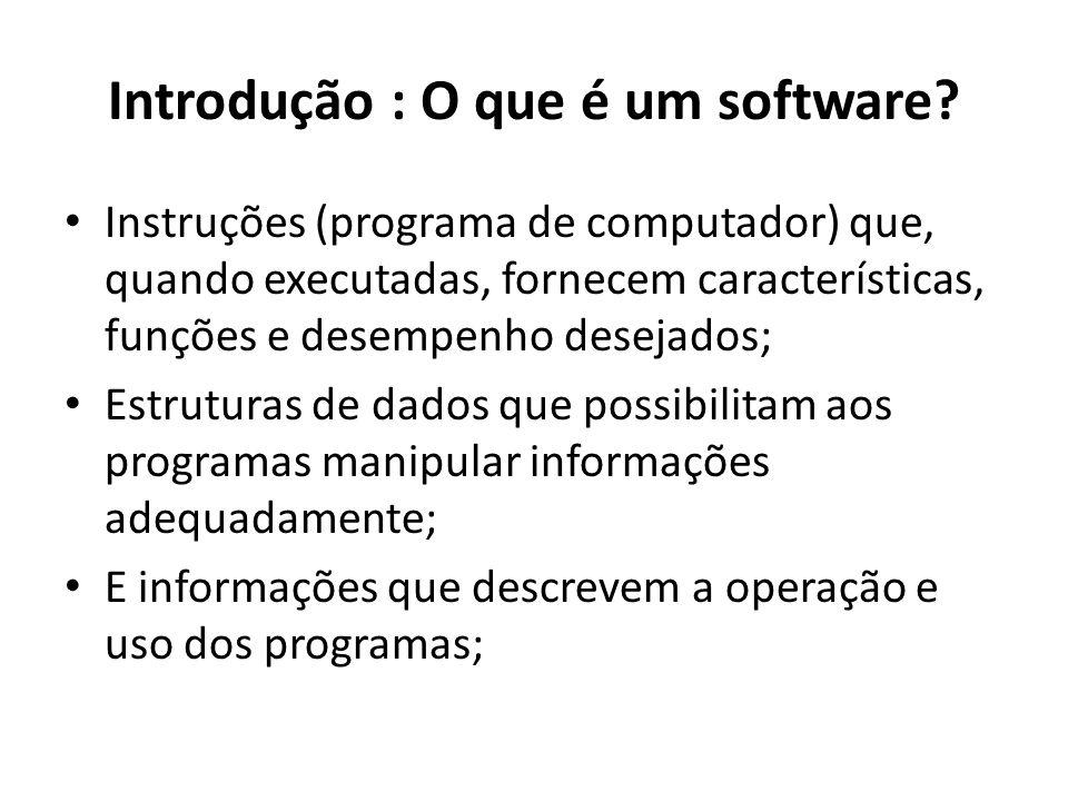Introdução: A crise do Software O termo crise do software vem sendo usado na indústria de software desde 1968, quando pela primeira vez se reconheceu as dificuldades no setor.