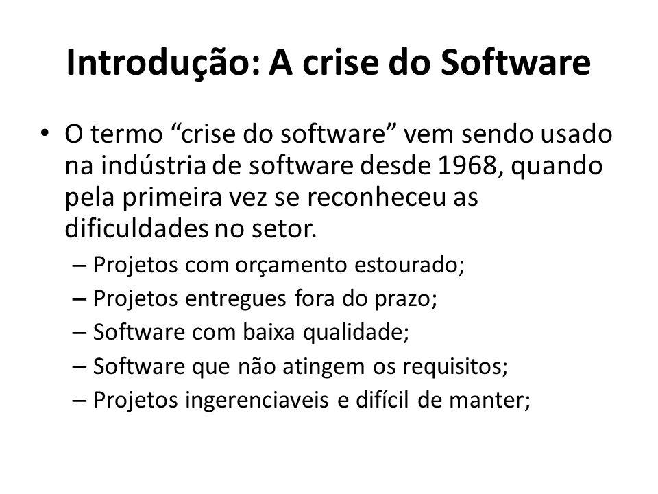 Introdução : A natureza do software 1.Software é desenvolvido ou passa por um processo de engenharia; não é fabricado no sentido clássico; 2.Software não se desgasta , mas se deteriora; 3.A maioria dos software são construídos de forma personalidade (sob encomenda); Pressman, 2011