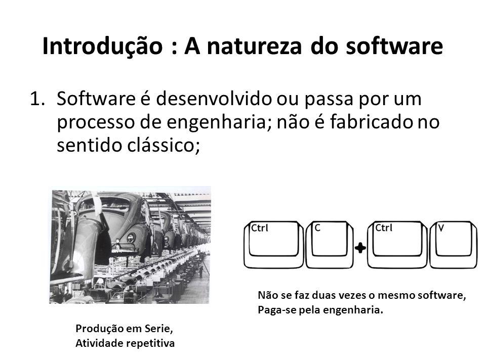 Introdução : A natureza do software 2.Software não se desgasta , mas se deteriora; Hardware com o tempo Se desgasta fisicamente Com o tempo deixa de atender as necessidades Do usuário