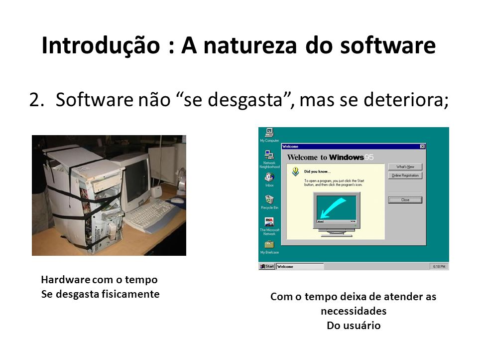 Introdução : A natureza do software 3.A maioria dos software são construídos de forma personalidade (sob encomenda);
