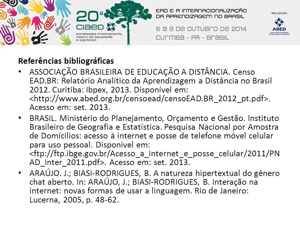 Referências bibliográficas ASSOCIAÇÃO BRASILEIRA DE EDUCAÇÃO A DISTÂNCIA. Censo EAD.BR: Relatório Analítico da Aprendizagem a Distância no Brasil 2012