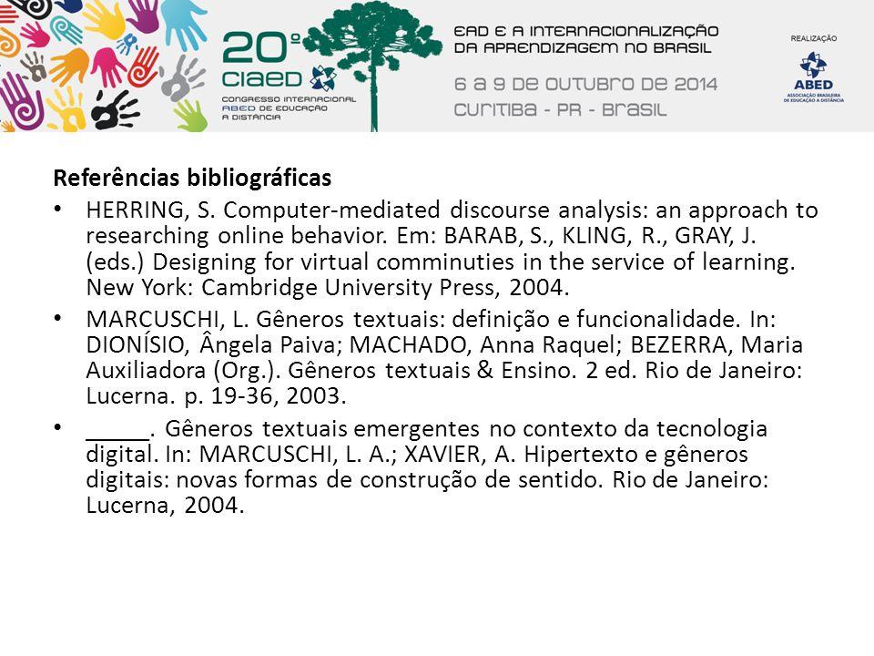 Referências bibliográficas HERRING, S. Computer-mediated discourse analysis: an approach to researching online behavior. Em: BARAB, S., KLING, R., GRA