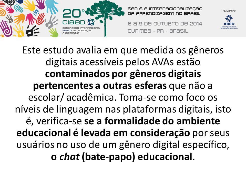 Este estudo avalia em que medida os gêneros digitais acessíveis pelos AVAs estão contaminados por gêneros digitais pertencentes a outras esferas que n