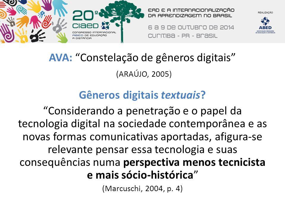 """AVA: """"Constelação de gêneros digitais"""" (ARAÚJO, 2005) Gêneros digitais textuais? """"Considerando a penetração e o papel da tecnologia digital na socieda"""