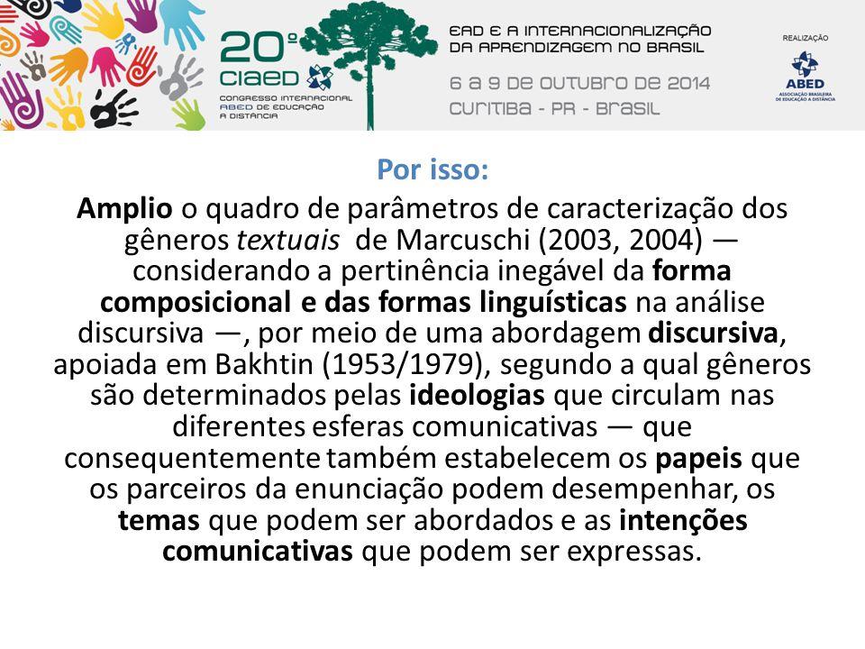 Por isso: Amplio o quadro de parâmetros de caracterização dos gêneros textuais de Marcuschi (2003, 2004) — considerando a pertinência inegável da form