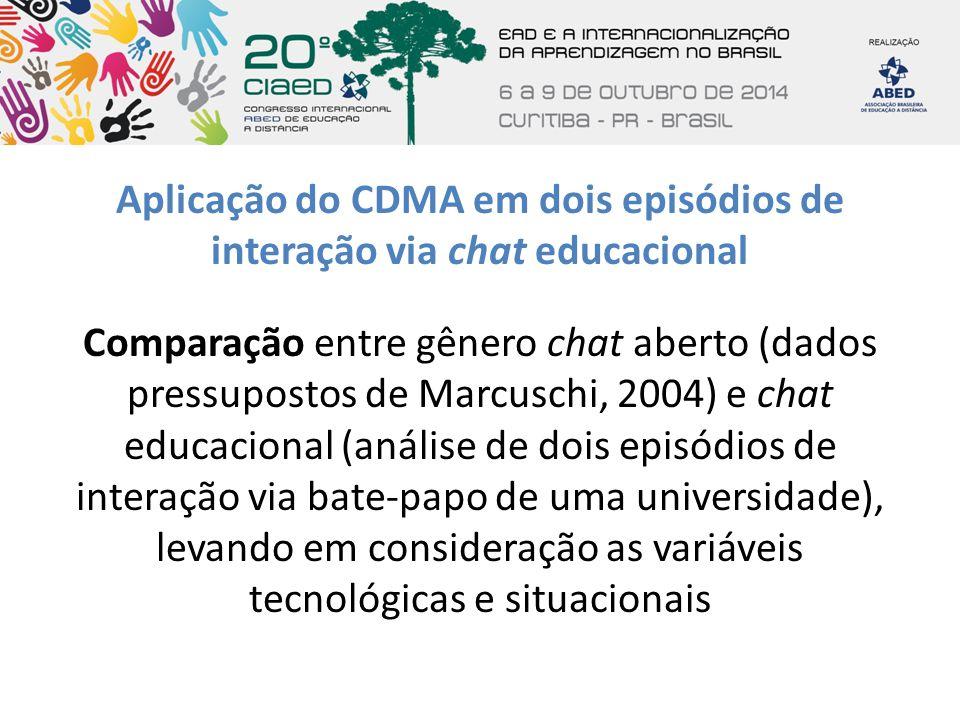Aplicação do CDMA em dois episódios de interação via chat educacional Comparação entre gênero chat aberto (dados pressupostos de Marcuschi, 2004) e ch